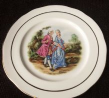 VINTAGE GILDED DISPLAY PLATE ROMANTIC COUPLE IN REGENCY DRESS CROWN RIVIERA